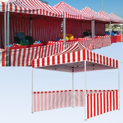 10x10 white and red striped game tent rental
