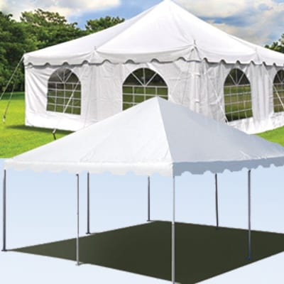 20x20 foot white tent party rental