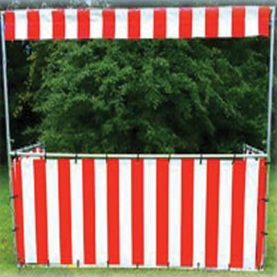red and white striped game booth rental