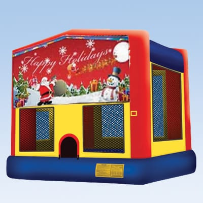 happy holidays winter christmas themed bounce house