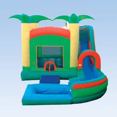 tropical themed water slide and bounce house