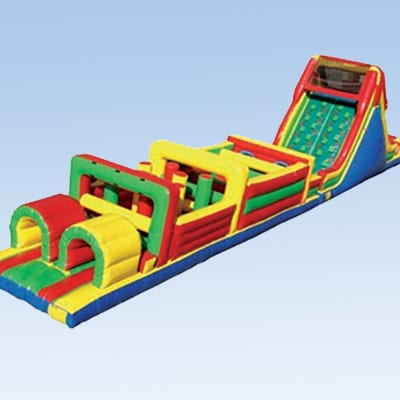 colorful mega inflatable obstacle course
