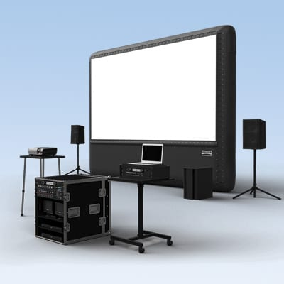 screen, projector, and sound system combo