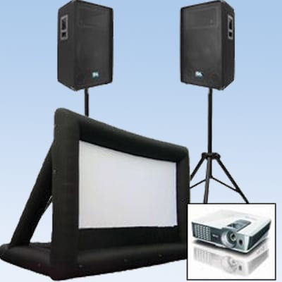 movie screen, projector, sound system combo